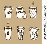 set of stylish coffee cups.... | Shutterstock .eps vector #636617644