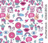 girly icon image  | Shutterstock .eps vector #636618016