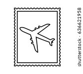 postal stamp line icon with air ... | Shutterstock . vector #636621958