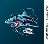 toothy great white shark... | Shutterstock .eps vector #636621964