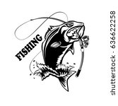 fishing logo. bass fish with...   Shutterstock .eps vector #636622258