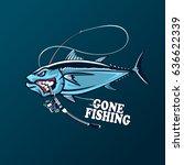 angry tuna fish logo. tuna... | Shutterstock .eps vector #636622339