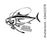 angry tuna fish logo. tuna... | Shutterstock .eps vector #636622378