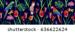 parrots and flowers. panoramic... | Shutterstock .eps vector #636622624