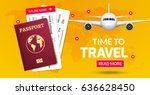 travel banner design. vacation... | Shutterstock .eps vector #636628450