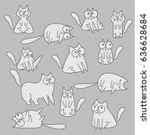 set of funny hand drawn cats... | Shutterstock .eps vector #636628684