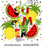 summer banner with watermelon... | Shutterstock .eps vector #636638398