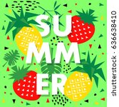 summer banner with pineapple ... | Shutterstock .eps vector #636638410