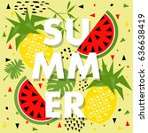 summer banner with watermelon... | Shutterstock .eps vector #636638419
