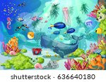Cartoon marine underwater landscape template with whale fishes jellyfish shells crab seahorse seaweeds corals plants vector illustration