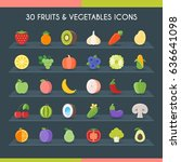 fruits and vegetables icons set.... | Shutterstock .eps vector #636641098