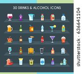 drinks thin line icons set.... | Shutterstock .eps vector #636641104