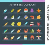 fish and seafood icons set.... | Shutterstock .eps vector #636641788