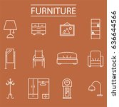 thin line home furniture icon... | Shutterstock .eps vector #636644566