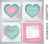 set of green and pink greeting...   Shutterstock .eps vector #636647704