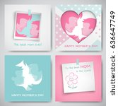 set of green and pink greeting... | Shutterstock .eps vector #636647749