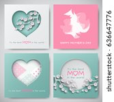 set of greeting cards for... | Shutterstock .eps vector #636647776