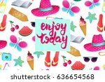 enjoy today vector illustration.... | Shutterstock .eps vector #636654568