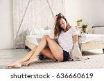 beautiful young feminine sexy... | Shutterstock . vector #636660619