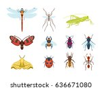 colorful insects icons isolated ... | Shutterstock .eps vector #636671080