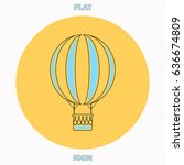 air balloon blue outline vector ...