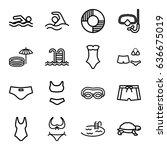 swim icons set. set of 16 swim... | Shutterstock .eps vector #636675019