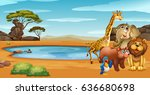 wild animals by the pond... | Shutterstock .eps vector #636680698