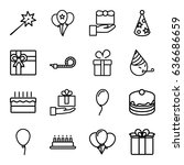 birthday icons set. set of 16... | Shutterstock .eps vector #636686659