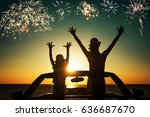 silhouette of happy family at... | Shutterstock . vector #636687670