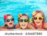 happy children in the swimming... | Shutterstock . vector #636687880