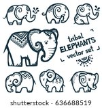 tribal style tiny elephants... | Shutterstock .eps vector #636688519