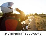 motorcycle driver drink water... | Shutterstock . vector #636693043