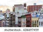 colorful old buildings and... | Shutterstock . vector #636697459