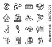 holding icons set. set of 16... | Shutterstock .eps vector #636702706