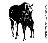 Stock vector mare with foal black silhouette horse on white background vector 636706993
