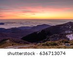 dawn at the montseny natural... | Shutterstock . vector #636713074