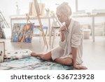 beautiful young woman sitting...   Shutterstock . vector #636723928