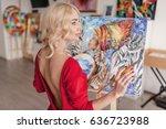 the artist in a red dress... | Shutterstock . vector #636723988