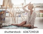 beautiful young woman sitting...   Shutterstock . vector #636724018