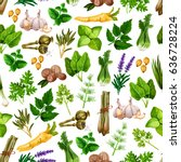 spices and herbs seamless... | Shutterstock .eps vector #636728224