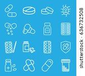 pill icons set. set of 16 pill... | Shutterstock .eps vector #636732508