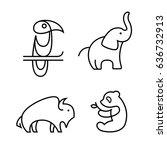 toucan  elephant  buffalo and... | Shutterstock .eps vector #636732913