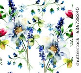 seamless pattern with wild... | Shutterstock . vector #636738340