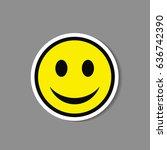 smiley paper sticker. vector... | Shutterstock .eps vector #636742390