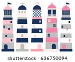 vector set with lighthouses in... | Shutterstock .eps vector #636750094