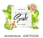 summer sale banner  poster with ... | Shutterstock .eps vector #636753160