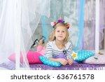 lovely girl with a unicorn hoop ... | Shutterstock . vector #636761578
