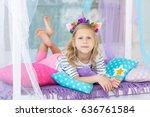 lovely girl with a unicorn hoop ... | Shutterstock . vector #636761584