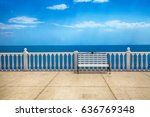 summer view with classic white... | Shutterstock . vector #636769348