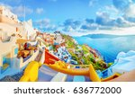 breathtaking scenery of oia... | Shutterstock . vector #636772000